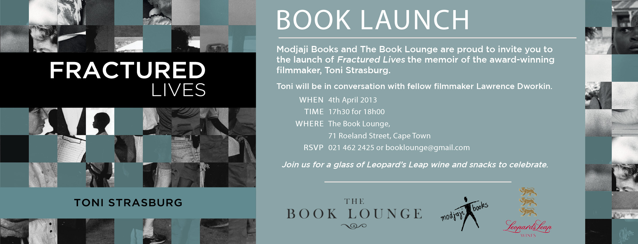 Launch invite for Toni Strasburg's Fractured Lives