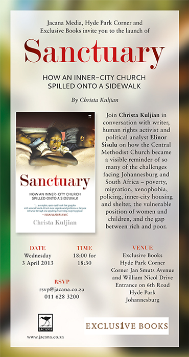 Invite to book launch of Sanctuary, by Christa Kuljian