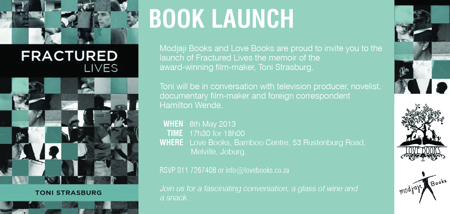 Book Launch invitation for Fractured Lives, by Toni Strasburg