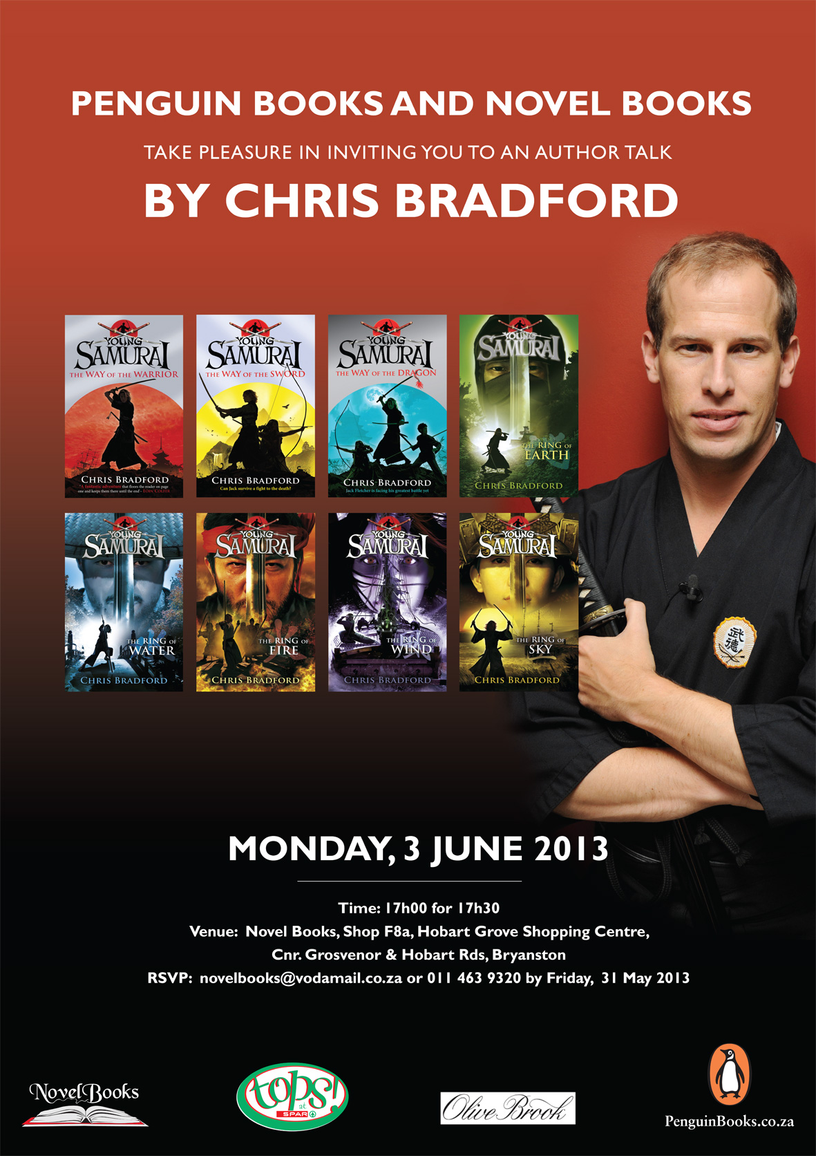 Chris Bradford Invite to Novel Books